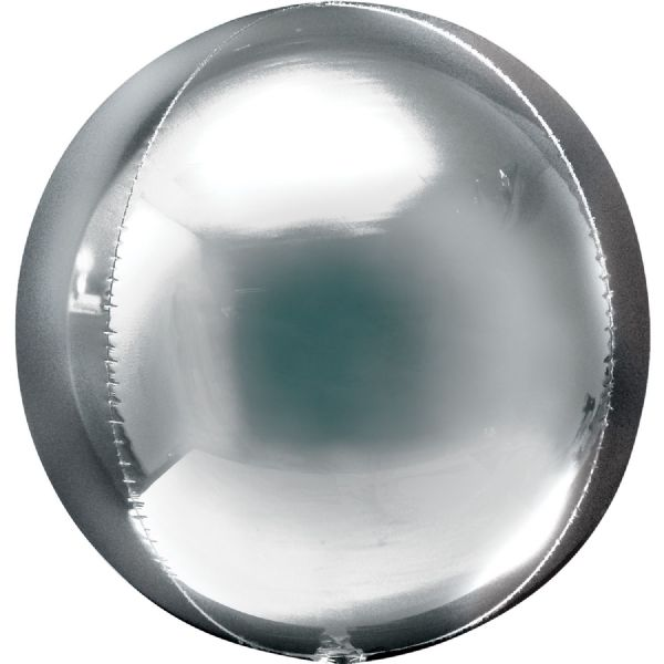 Silver Round Orbz 15in Balloon